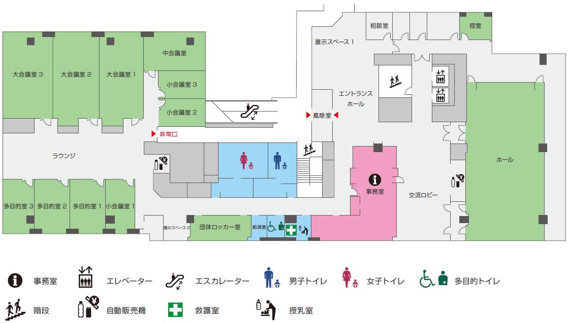 川崎市総合自治会館平面図